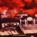 Postcard: Picture of the Tokyo Dentō Company engulfed in flames, Yūrakuchō, Tokyo