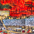 Lithograph print: People flee Tokyo on the Sumida River as fires approach