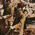 Postcard: The Prince Regent, Hirohito, tours devastated Tokyo on 15 September, 1923