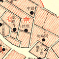 Map: Areas destroyed by fire. Note, the imperial palace is at the center of the map with the wards of Honjo and Fukagawa at the bottom.