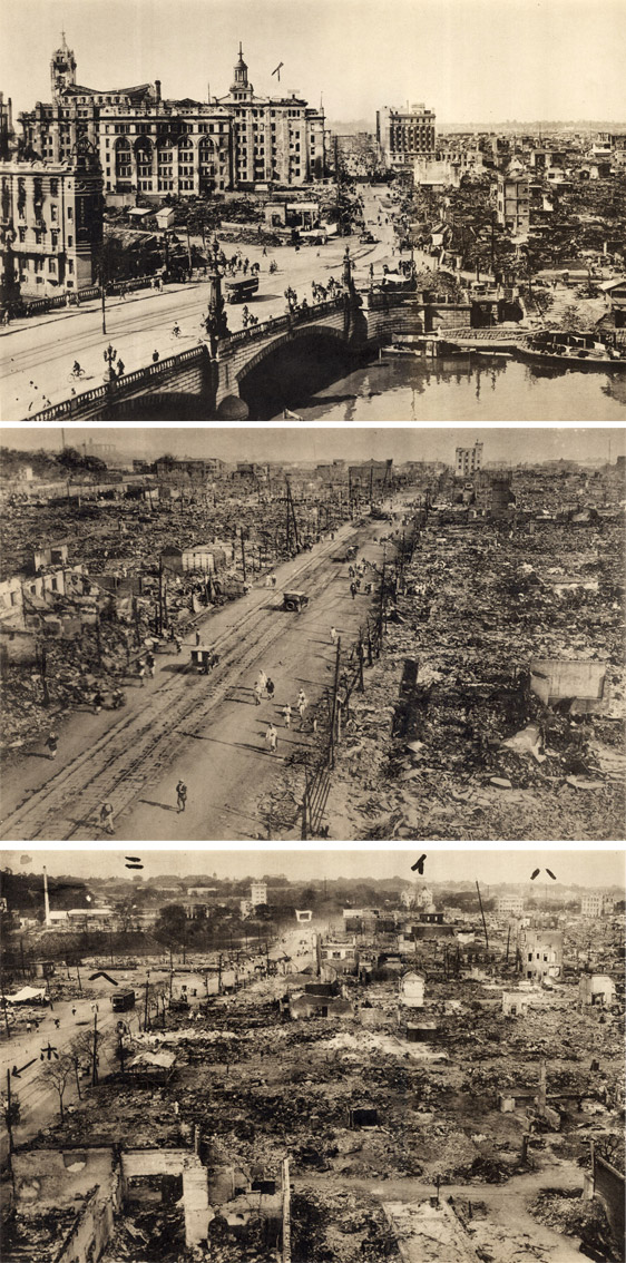 Three scenes of destruction in Tokyo
