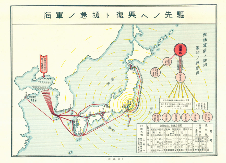Diagram indicating the movement of naval vessels in support of relief activities following the disaster