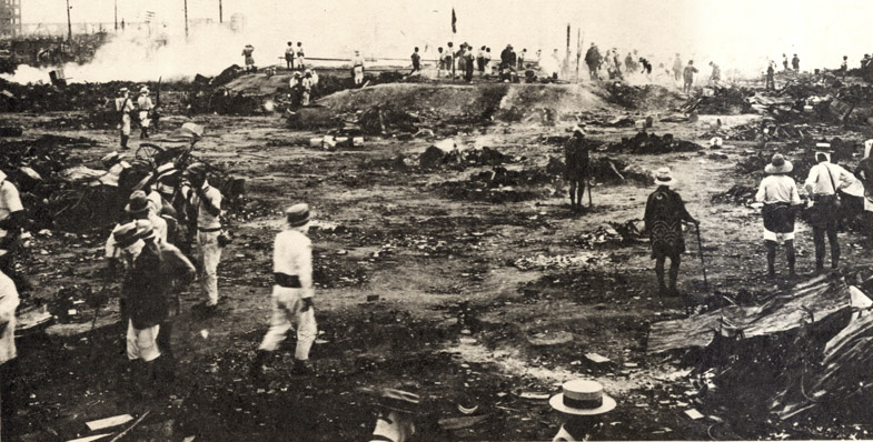 Photograph of bodies being cremated at the site of the Honjo Clothing Depot