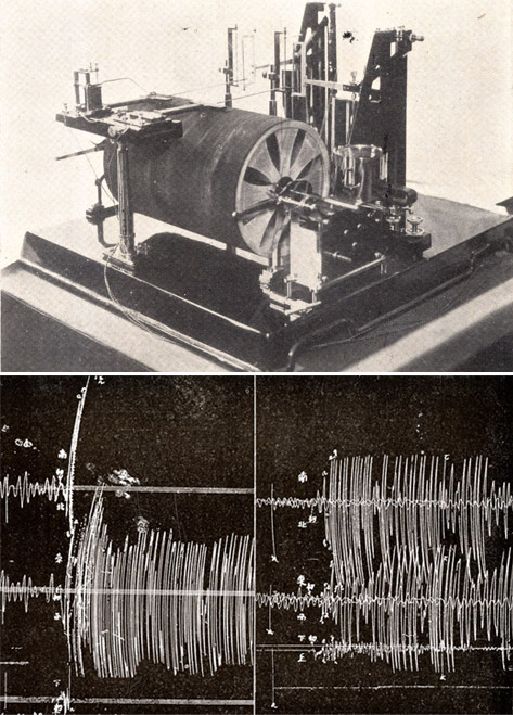 Photograph of a 1920s era seismograph and a seismographic record of the Great Kantō Earthquake