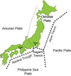Map of tectonic plates that cause earthquakes in Japan