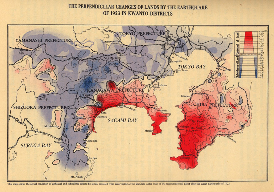 Map indicating changes in elevation of land as a result of the 1923 earthquake