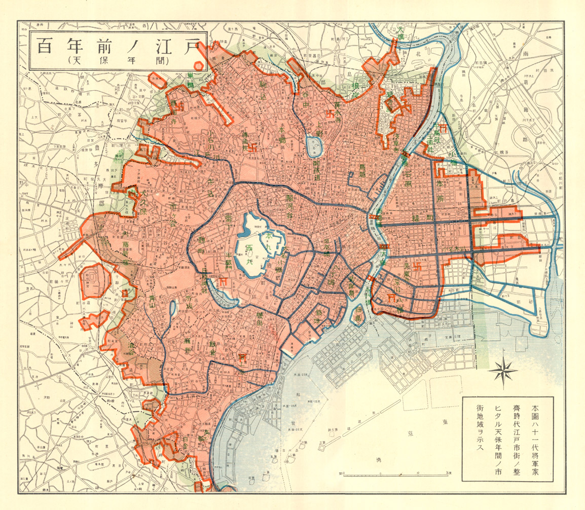 Map of Edo 100 years ago, Tenpō Era (1830-1844)