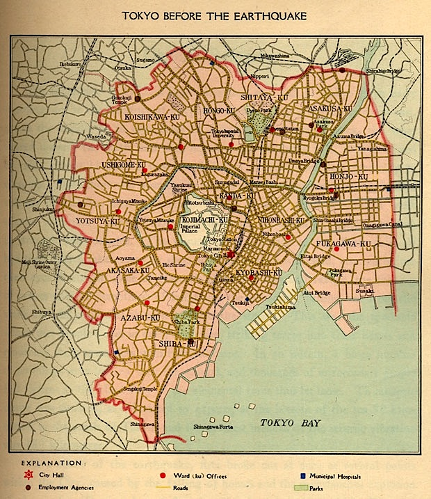 Map of Tokyo Prior to the 1923 Earthquake